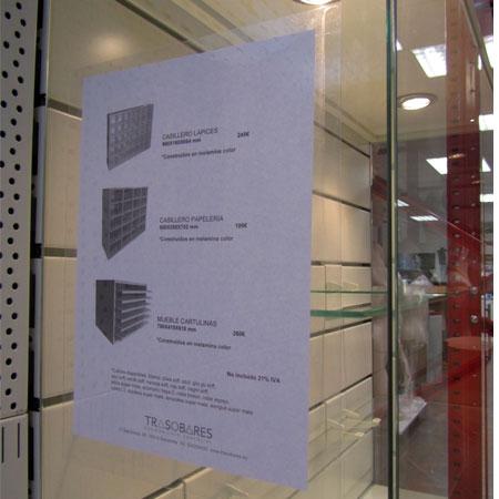porta cartel electrostático