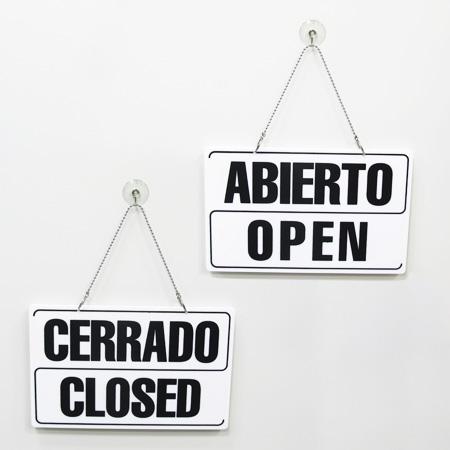 abierto cerrado 2 idiomas blanco