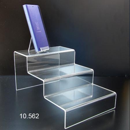 Escalera metacrilato transparente  3 peldaños para vitrina
