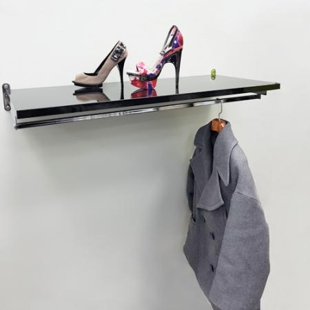 conjunto estante y barra negro y cromo