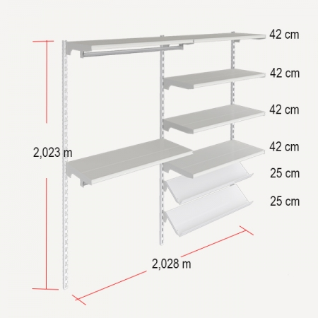medidas de estanteria modular para ropa con estantes rectos e inclinados