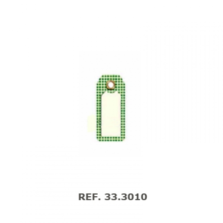 etiqueta colgante  cuadros verdes