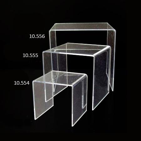Niveles de metacrilato transparente escaparate en U