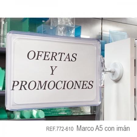 Marco A5 con soporte imán para ofertas y promociones
