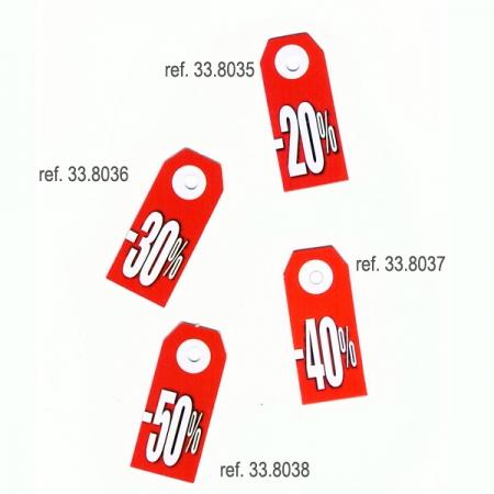Mini etiqueta descuentos, -20%, -30%, -40%, -50%, 200 unid,