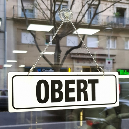Obert-tancat, cartel para colgar con ventosa