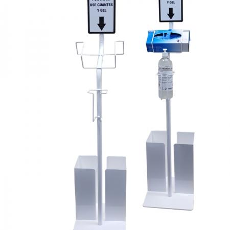 soporte para gel hidro alcohólico y guantes