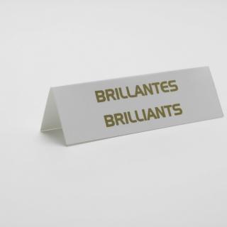 """Cartel joyería """"brillantes"""" blanco-oro 6 unid."""