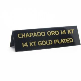 """Cartel joyería """"chapado oro 14 kt"""" negro-oro"""