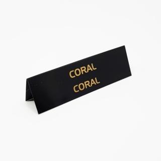 """Cartel joyería """"Coral/Coral"""" negro-oro"""