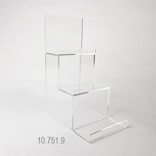 Expositor 3 niveles largo 10 cm x peldaños de 5 cm +5 cm +5 cm x altura 22 cm, en metacrilato transparente de 3 mm.  Escalera especial para escaparate.