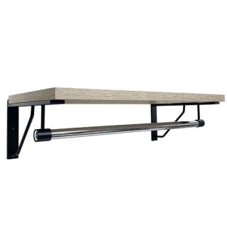 Estante y barra confección1 m, negro/madera