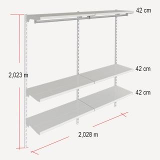 medidas de la estantería para colgar y estantes rectos