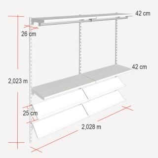 medidas de la estanteria con barras colgadores