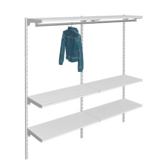 Estanterías con barra colgadora y estantes rectos, 2 m