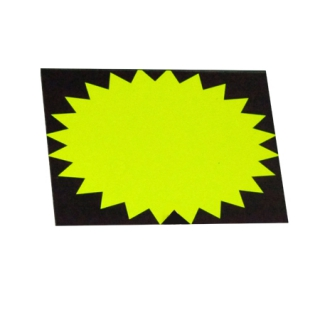 Etiqueta grande amarilla cartón ovalada fluor 50 Uds.