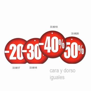 Etiqueta 20,30,40,50 % descuento, redonda, 200 und.