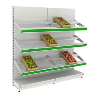 Frutero auto portante 2 m, 6 estantes fruta y 2 rectos en base