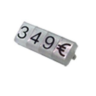 Marcadores de precios 8 mm, fondo glaseado,  nº negro, estuche