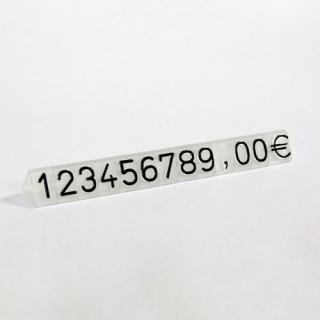Marcadores de precios en dados de 9,5 mm, fondo glaseado número negro