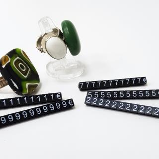 Joyería, Marcadores de precios 5 mm, negro- nº blanco,estuche