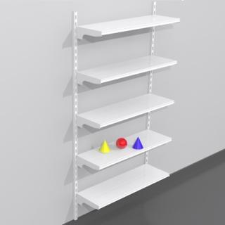 Estantería metálica cremallera a pared de 1 m, 5 estantes rectos