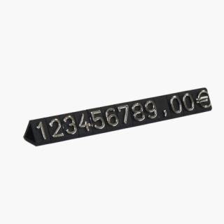 Marcadores de precios en dados de 9,5 mm, fondo negro, número plata