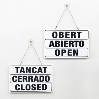 Cartel abierto-cerrado 3 idiomas