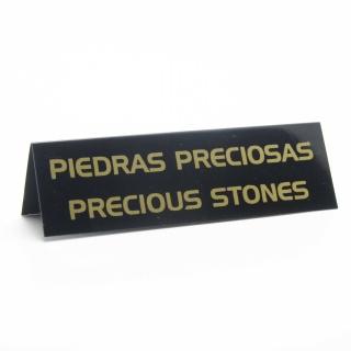 """Cartel joyería """"piedras preciosas"""" negro-oro"""