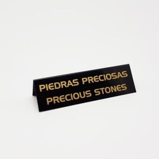 """Cartel joyería """"Piedras preciosas/""""Precious Stones""""  negro-oro"""