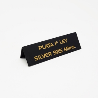 "Cartel joyería ""Plata 1ª Ley/Silver 925 Mlms""  negro-oro"