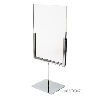 Cartel  A5 vertical en soporte cromado alto 10 cm