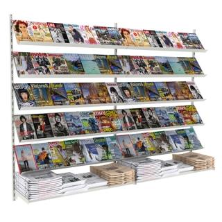 Revistero a pared de 2,70 m, 10 estantes revista y 2 estantes rectos