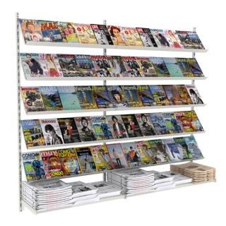 Revistero a pared de 2,36 m, 10 estantes revista y 2 estantes rectos