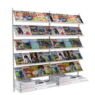 Revistero a pared de  2,03 m, con 10 estantes revista y 2 estantes rectos