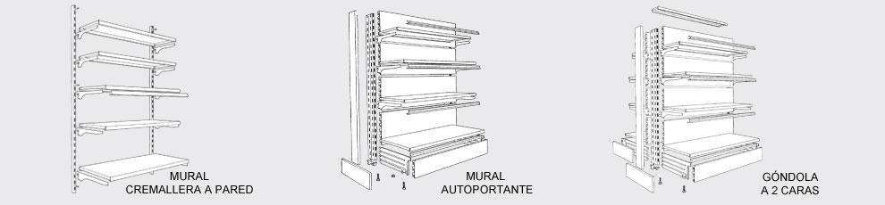 Mobiliario especializado para tienda de alimentacion o for Perfiles de estanterias metalicas